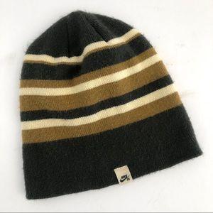 NIKE SB olive green striped Beenie hat